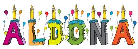 Aldona nome fêmea 3d colorido mordido que rotula o bolo de aniversário com velas e balões ilustração stock