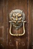 Aldrava de porta de bronze na porta de madeira Fotografia de Stock Royalty Free