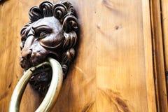 Aldrava de porta principal do leão Fotografia de Stock