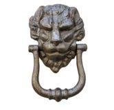 Aldrava principal do leão em uma porta de madeira branca velha Imagens de Stock Royalty Free