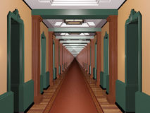 Aldrig avsluta Art Deco Corridor Arkivbilder
