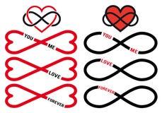 Aldrig sinande förälskelse, röda oändlighetshjärtor, vektoruppsättning Arkivfoton