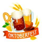 Ale beer oktoberfest logo, isometric style royalty free illustration