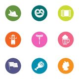 Ale icons set, flat style. Ale icons set. Flat set of 9 ale vector icons for web isolated on white background royalty free illustration