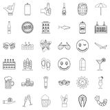 Ale icons set, outline style. Ale icons set. Outline style of 36 ale vector icons for web isolated on white background Royalty Free Stock Photography