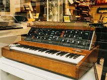 Ale of the Minimoog is a monophonic analog synthesizer stock photo