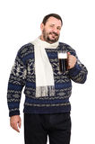 A ale mug is held with fat man. A ale mug is held with fat mature man in white scarf on a white background Royalty Free Stock Image