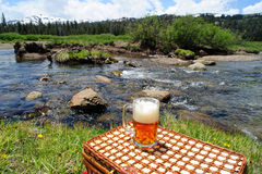 Ale And Nature. Partially consumed mug of ice cold  micro brewery Ale sitting on a picnic basket used for a table wth crystal clear river and forest in the Royalty Free Stock Photography