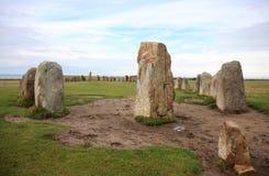 Ale Stones dichtbij Kaseberga, Zweden Royalty-vrije Stock Foto's