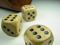Alea jacta est. Three dice showing the maximum of points Royalty Free Stock Images