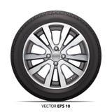 Aleación radial del metal de la rueda del neumático de coche en vector aislado del fondo Foto de archivo libre de regalías