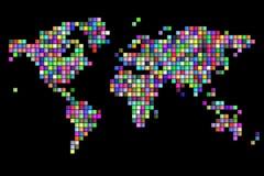 Aleatório do mapa do mundo colorido Imagens de Stock Royalty Free