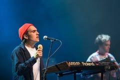 Alec Meen van band Mac DeMarco, tijdens prestaties bij Palladium Riga stock foto's
