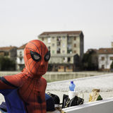 Alecomics cosplayers for commercial, Spiderman mask Royalty Free Stock Image