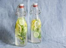 Alecrins, limão, limonada do pepino em umas garrafas do vintage em um fundo azul Imagem de Stock Royalty Free