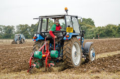 Aled Morgan Ploughing. BASINGSTOKE, UK - OCTOBER 12, 2014: Aled Morgan competing in the second day of the British National Ploughing Championships organised by Stock Photography