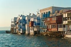 Alefkandra, Mały Wenecja w Mykonos, Grecja przy zmierzchem Fotografia Stock
