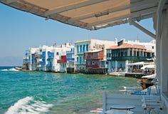 Alefkandra, wenig Venedig in Mykonos, Griechenland Lizenzfreie Stockfotografie