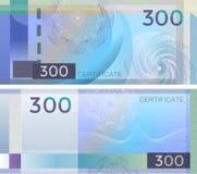 Alegata szablonu banknot 300 z giloszuje deseniowych watermarks i granicę Błękitny tło banknot, prezenta alegat, talon, royalty ilustracja
