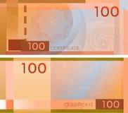Alegata szablonu banknot 100 z giloszuje deseniowych watermarks i granicę Pomarańczowy tło banknot, prezenta alegat, talon, ilustracja wektor