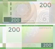Alegata szablonu banknot 200 z giloszuje deseniowych watermarks i granicę Zielony tło banknot, prezenta alegat, talon, ilustracja wektor