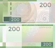 Alegata szablonu banknot 200 z giloszuje deseniowych watermarks i granicę Zielony tło banknot, prezenta alegat, talon, royalty ilustracja