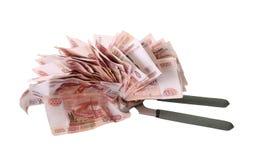 Alegoria globalny kryzys finansowy - Rosyjski rubel w chwycie kryzys gospodarczy Fotografia Stock