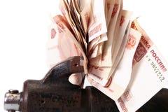 Alegoria globalny kryzys finansowy - Rosyjski rubel w chwycie kryzys gospodarczy Obraz Stock