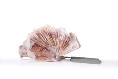 Alegoria globalny kryzys finansowy - Rosyjski rubel w chwycie kryzys gospodarczy Obrazy Royalty Free