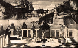 Alegoria sagrado da foto 1880-1930 do vintage, Giovanni Bellini, Florença, Itália Foto de Stock Royalty Free