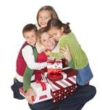 Alegría de la Navidad con la mama y la familia Fotografía de archivo libre de regalías