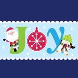 Alegría de la Navidad con Papá Noel y el pingüino lindo Foto de archivo libre de regalías