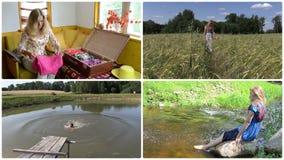 Alegría de las vacaciones de verano Relájese en naturaleza Acorta el collage metrajes