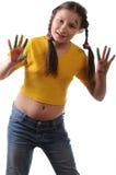 Alegría. Muchacha del preadolescente que juega con colores Imágenes de archivo libres de regalías