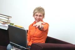 Alegría sobre la computadora portátil Foto de archivo libre de regalías