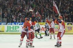 Alegría del hockey - Slavia Praga contra Mlada Boleslav Imagenes de archivo