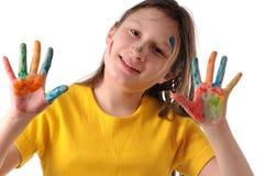 Alegría. Muchacha del preadolescente que juega con colores Imagen de archivo libre de regalías