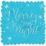 Alegre e brilhante Rotulação do Natal na neve azul ilustração royalty free