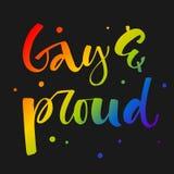 Alegre e orgulhoso O arco-?ris de Gay Pride colore cita??es modernas do texto da caligrafia no fundo escuro do fundo ilustração royalty free