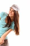 Alegre hermoso de la muchacha adolescente aislado en blanco Foto de archivo libre de regalías