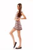 Alegre hermoso de la muchacha adolescente aislado en blanco Imagen de archivo