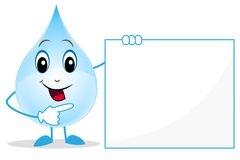 Alegre uma gota da água mostra em uma bandeira limpa Foto de Stock Royalty Free