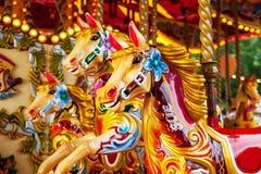 Alegre vão os cavalos do carrossel do círculo Fotografia de Stock Royalty Free