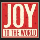 Alegria ao vintage Christian Christmas Card do mundo Imagens de Stock Royalty Free