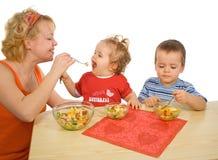 A alegria de comer saudável Imagens de Stock Royalty Free