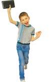 Alegria do menino com a tabuleta Imagens de Stock Royalty Free
