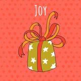 Alegria e cartão do desenho do presente Imagens de Stock Royalty Free