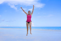 Alegria na praia fotografia de stock