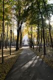 Aleia e templo do outono adiante imagens de stock royalty free
