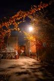 Aleia urbana do centro da rua da cidade do vintage escuro e assustador na noite fotos de stock royalty free